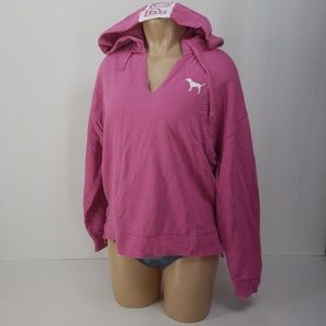 Pink Victoria's Secret crop sweatshirt hooded NWT